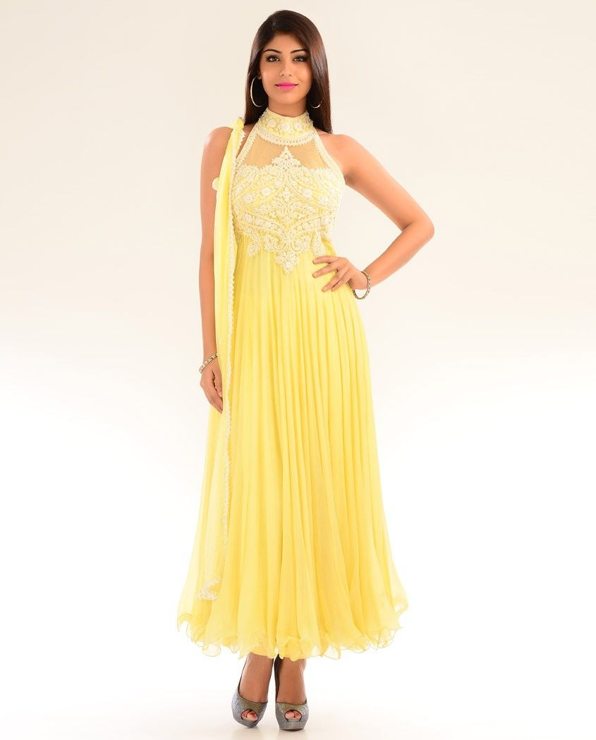 Halter Neck Sunglow Yellow Kalidar Suit with