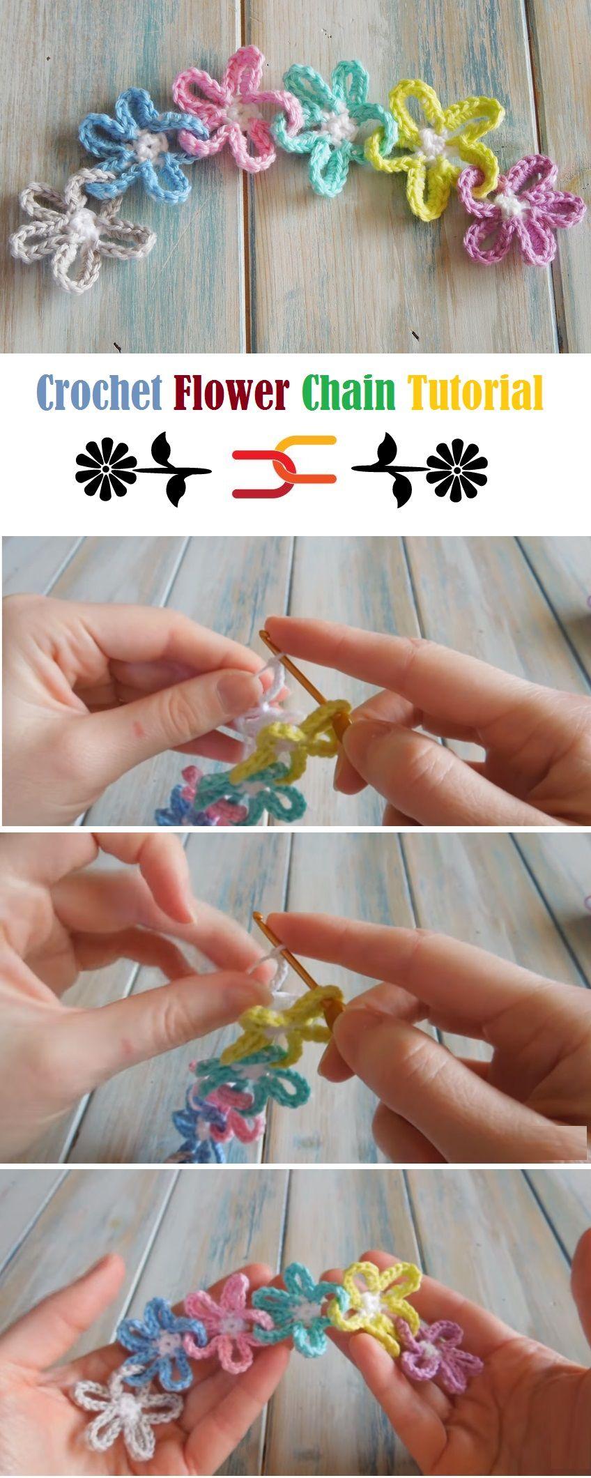 How To Crochet Flower Chain Crochet Pinterest Häkeln