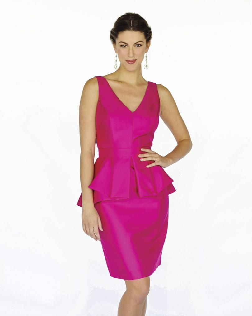 Hot pink peplum Lela Rose bridesmaid gown available at Patsy\'s ...