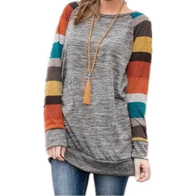 c4bad63e28 IYAEGE New Fashion Womens Tops And Blouses Casual Long Sleeve Striped  Patchwork Tee Shirt Loose Baseball