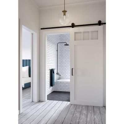 White Collar Craftsman Privacy 3 Lite Satin Solid Core MDF Barn Door With Sliding Hardware Kit