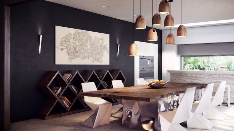 Résultat de recherche dimages pour mur noir table bois chaise