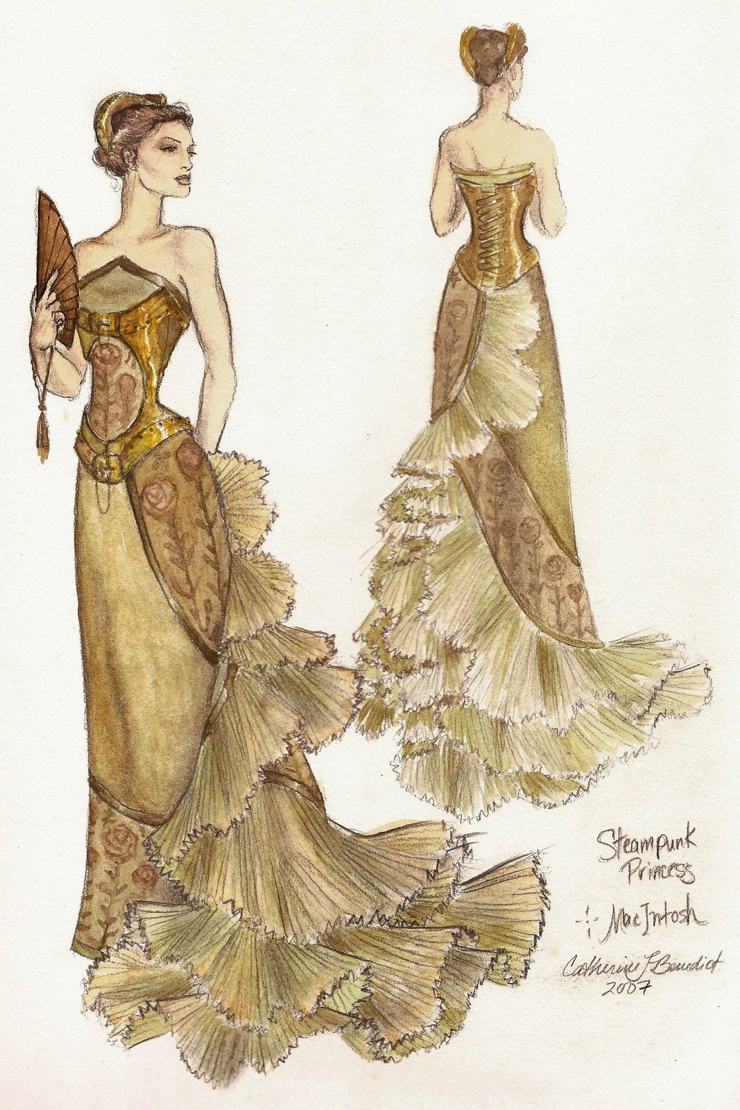 Steampunk Princess Ballgown - by fashion artist Catherine Benedict.  Beautiful!