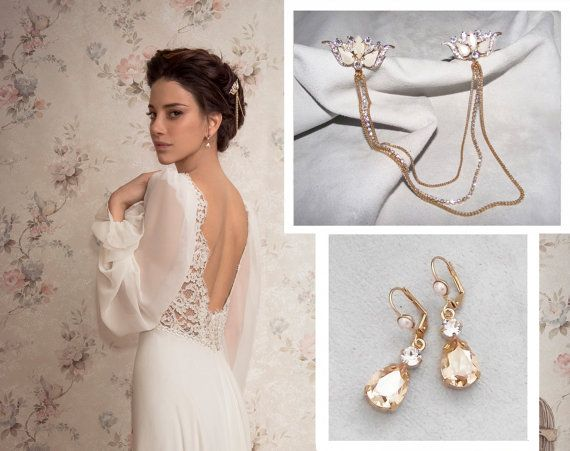 Bridal Jewelry Set Boho headpiece Swarovski crystal earrings Gold