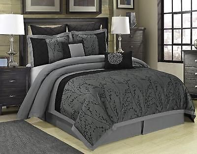 Bedding Comforter Set Tree Branches Microfiber Jacquard Gray Cal King 8pc New Comforter Sets Bed Linens Luxury Luxury Bedding Sets