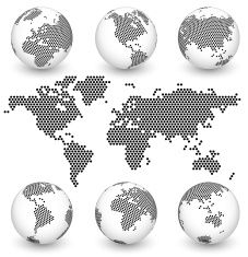 Earth map and globe set black white hexagons vector art earth map and globe set black white hexagons vector art illustration gumiabroncs Gallery