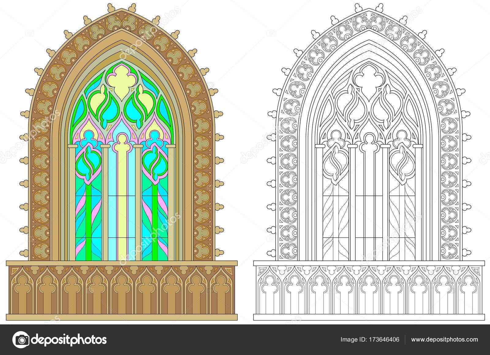 Renkli Ve Siyah Beyaz Desen Boyama Fantezi Gotik Vitray Pencere