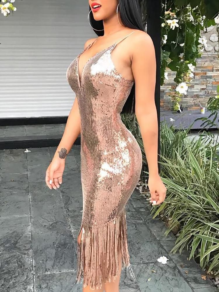 4ee89231b3f Tassel Hem Cami Sequin Party Dress