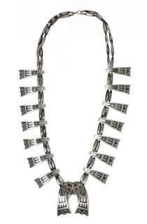 A Hopi Overlay Necklace Length 28 inches; naja height 2 1/4 x width 2 1/8 inches.