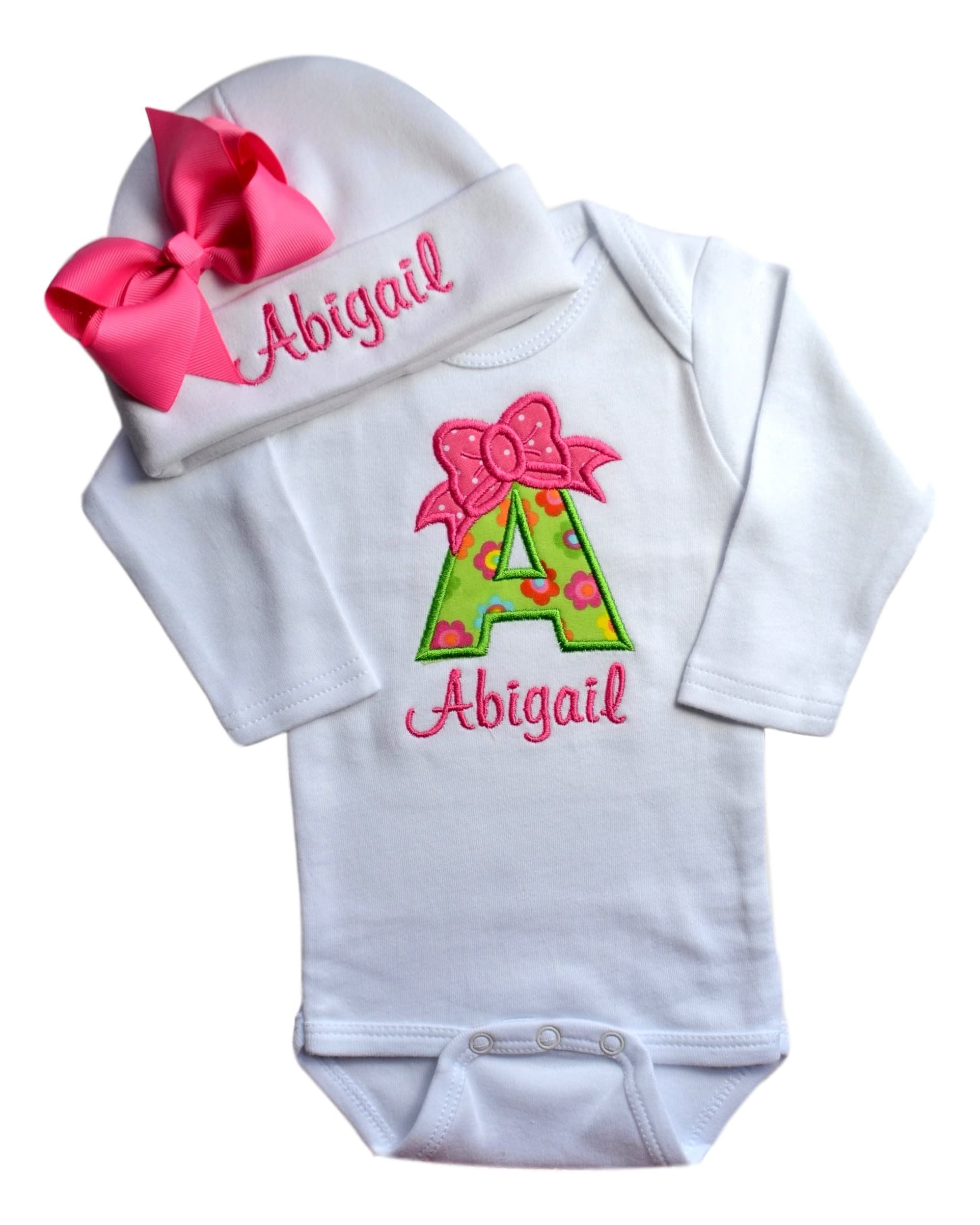 7ebd06b88 Baby Girl Embroidered Initial Onesie Bodysuit and Matching Grosgrain ...