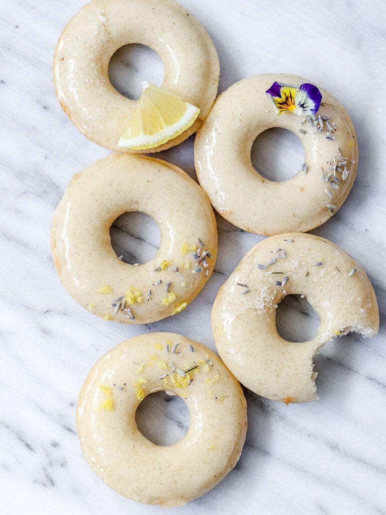 Vegan Lemon Lavender Baked Doughnuts
