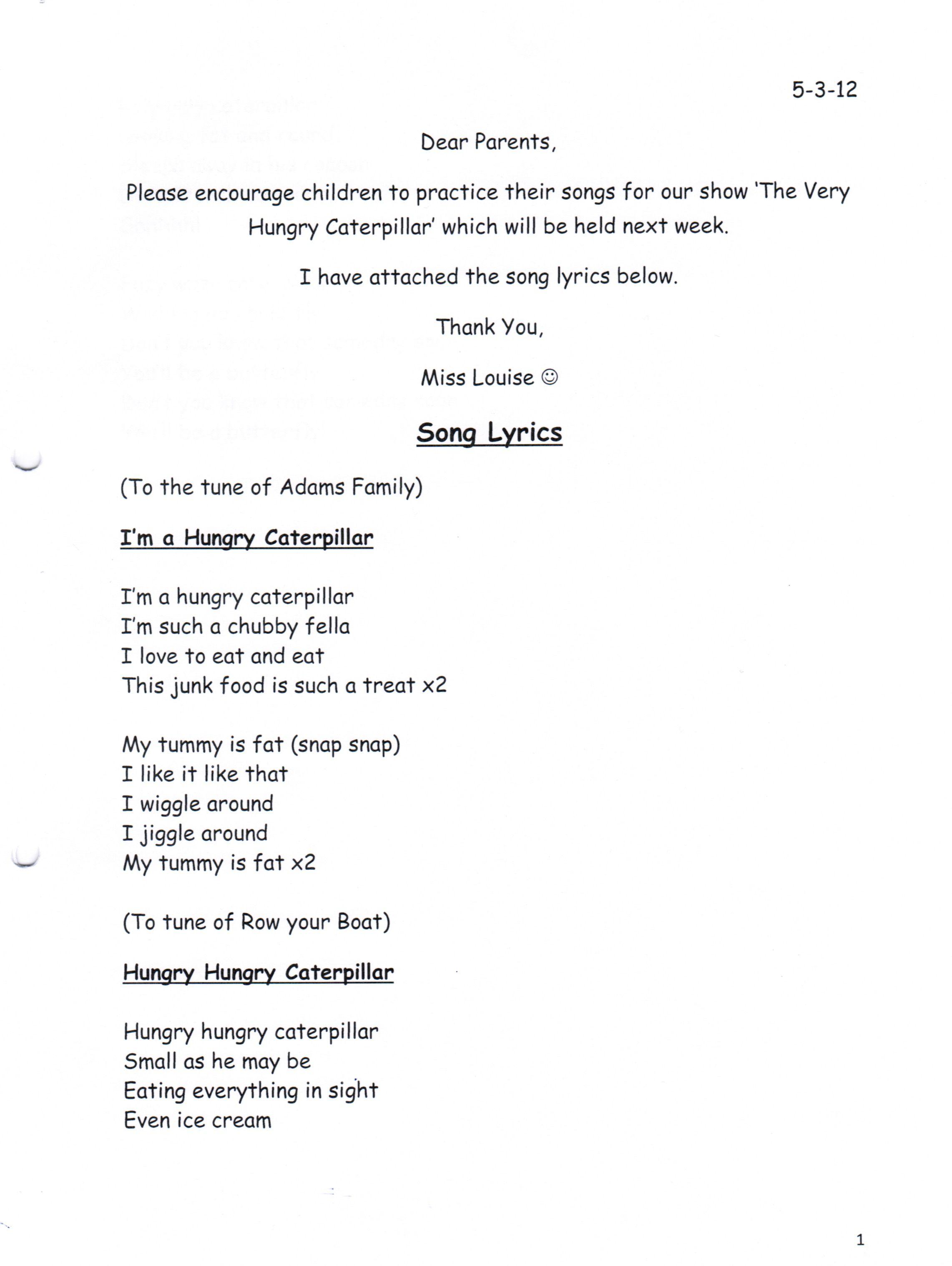 Hungry Caterpillar 1   Song Lyrics   Kids songs, Song lyrics