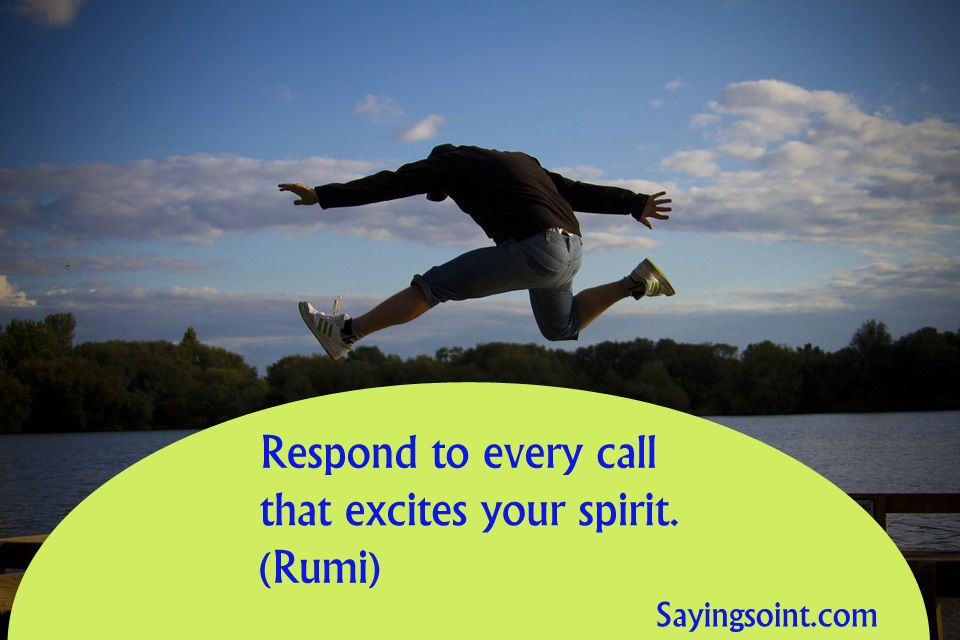 Respond To Every Call That Excites Your Spirit. (Rumi)