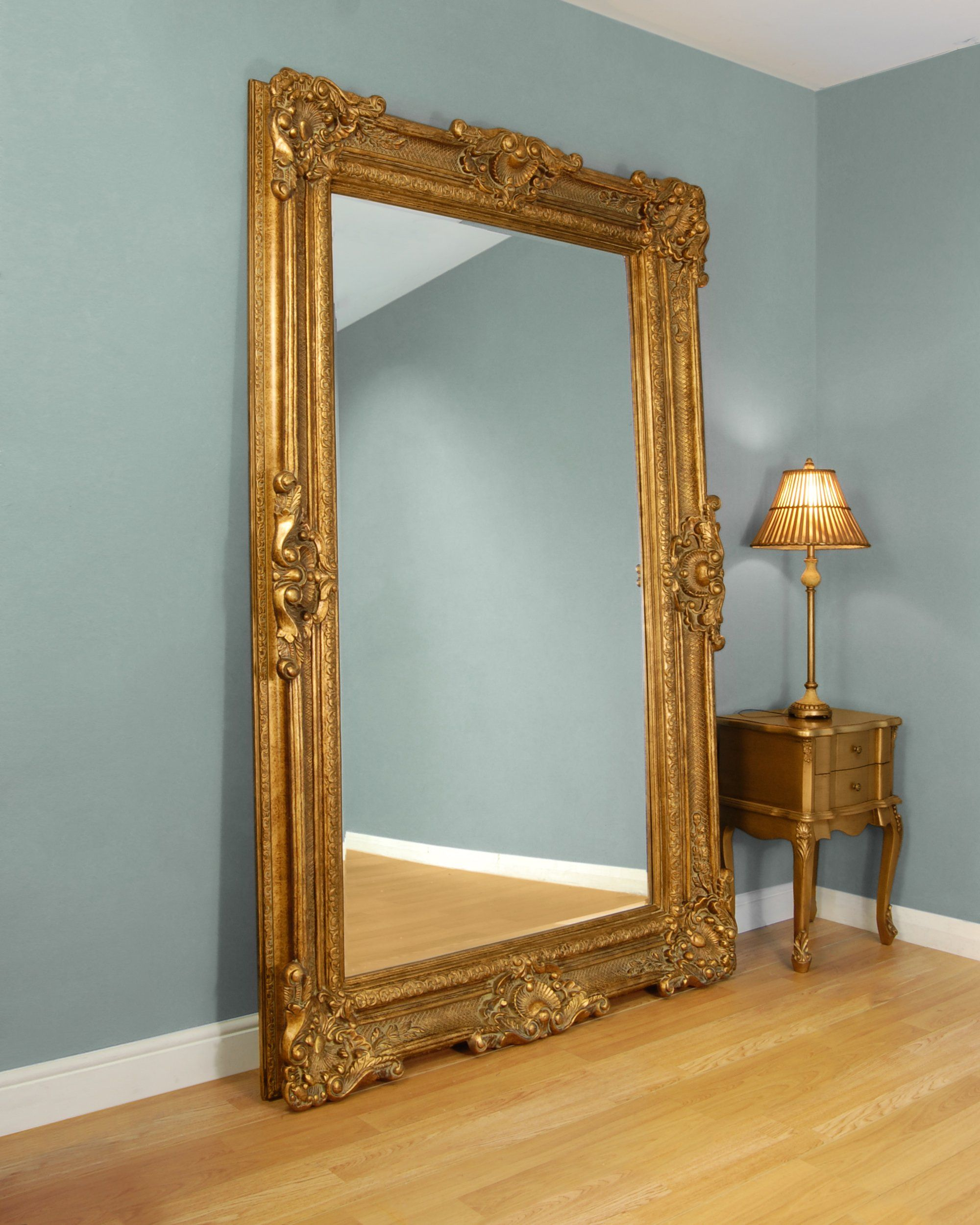 Cm bridgewater large gold framed leaner mirror 225cm x the chandelier mirror company bridgewater mirror arubaitofo Image collections