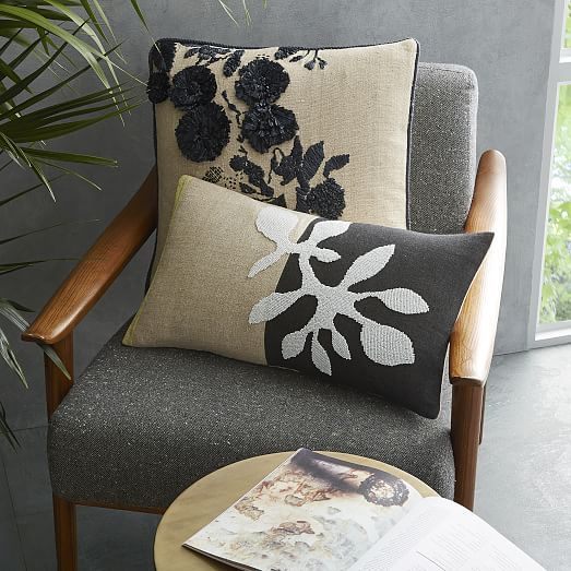 Shadow Frond Silk Pillow Cover - Black/Natural   west elm