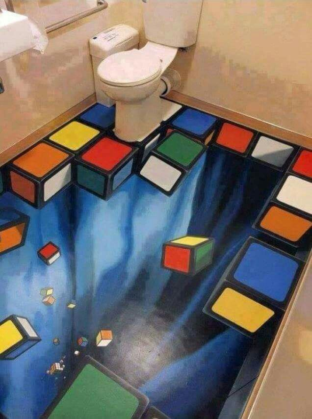 Trippy Bathroom Floor With Falling Rubiku0027s Cube Pieces.   Real Funny Has  The Best Funny Pictures And Videos In The Universe!