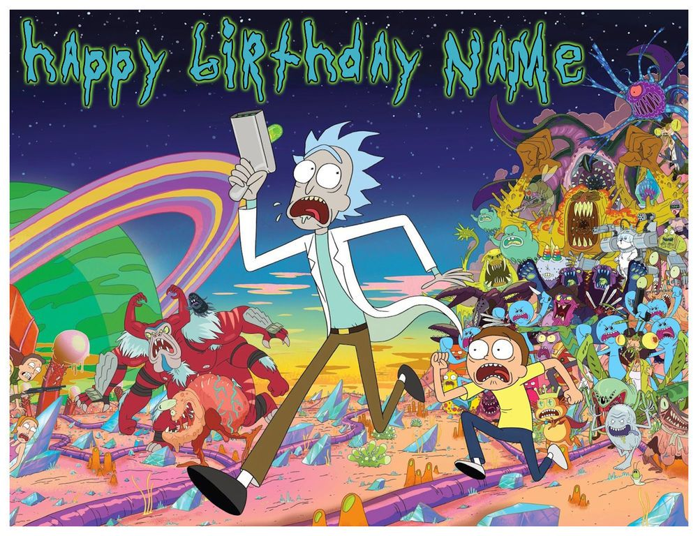 Edible Rick And Morty Cake Topper Birthday Party Wafer Paper 1 4 Sheet 8x10 5 Ebay Rick And Morty Characters Rick And Morty Season Watch Rick And Morty