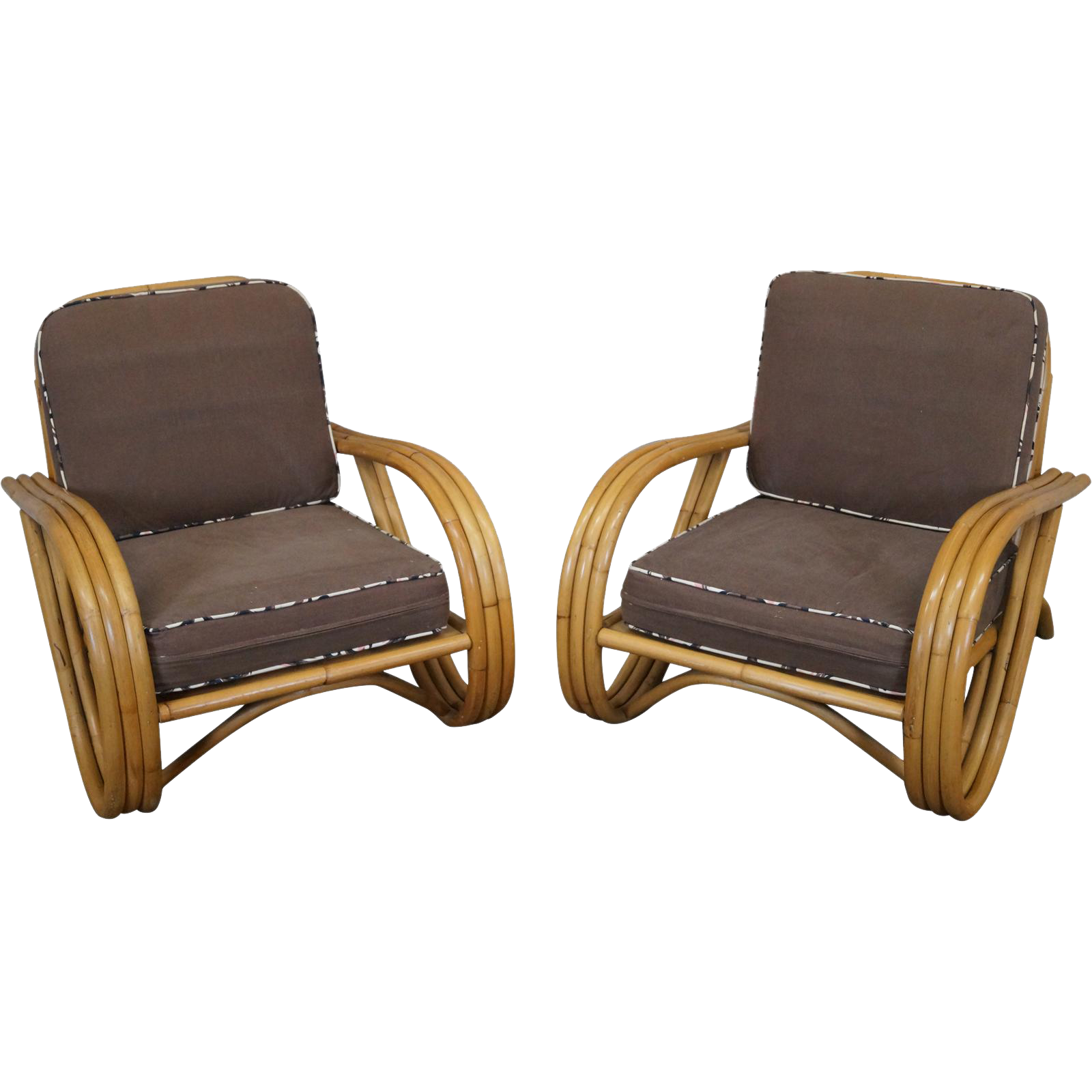 Ficks Reed Vintage Pair of Curved Rattan Bamboo Lounge Chairs