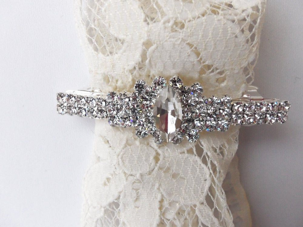 Rhinestone Bridal Barrette, Marquis Bridal Barrette, French Clasp Barrette, Vintage Glamour, Wedding Hair Accessory  :COLLETTE. $18.00, via Etsy.