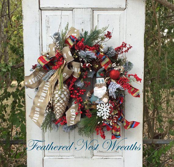 Christmas Door Wreath Wreath with Santa by FeatheredNestWreaths