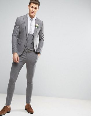 ASOS WEDDING Super Skinny Suit in Mini Check In Grey | André The ...