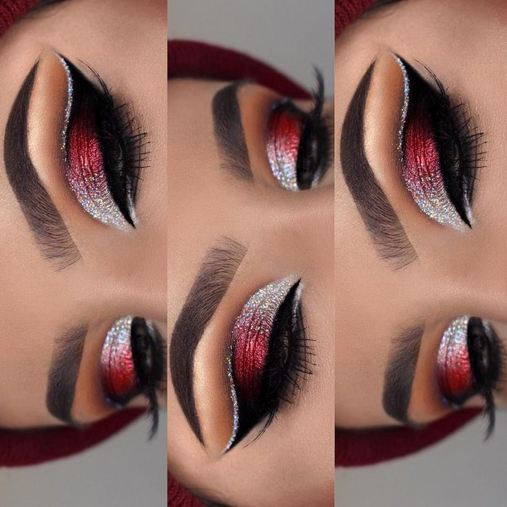Gorgeous blending with Silver, Red, & Black - Makijaż oczu #makeupeyeshadow