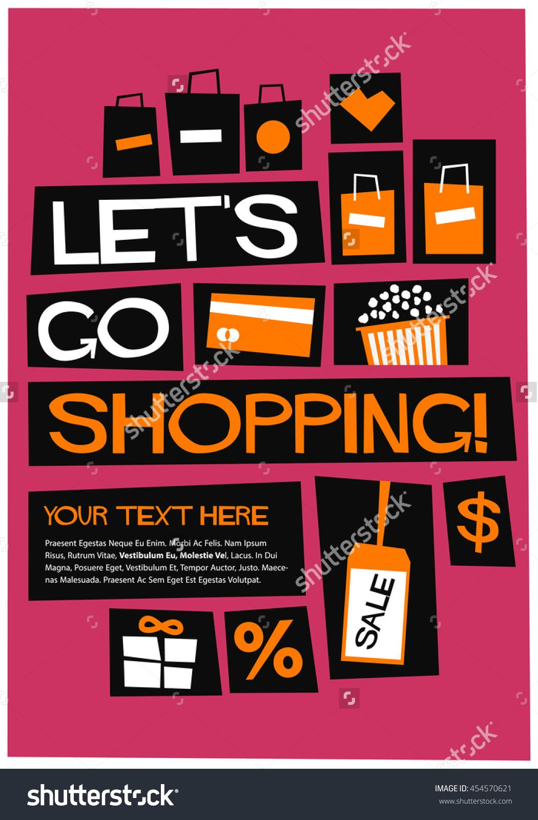 Let S Go Shopping Flat Style Vector Illustration Quote