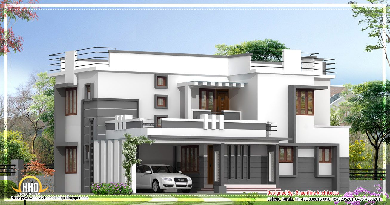 Contemporary 2 story kerala home design 2400 sq ft for New kerala house plans with front elevation