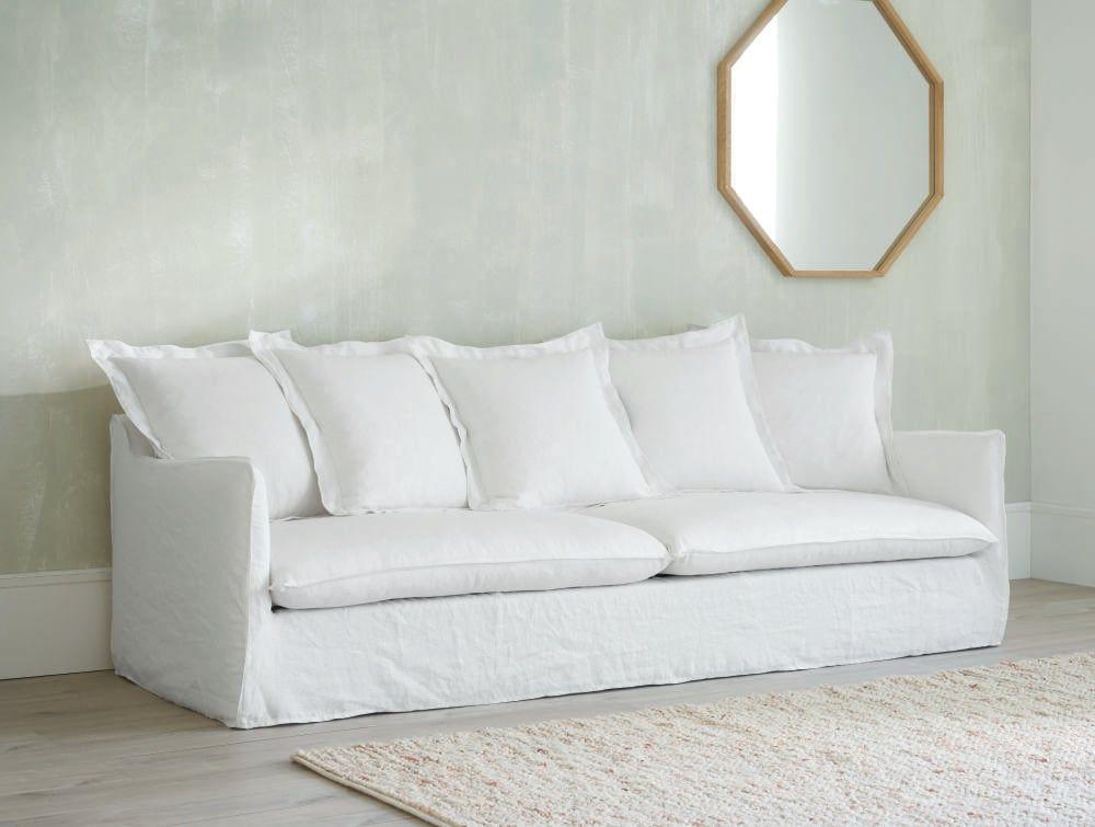 Sofa 5 Sitzer Aus Leinen Weiss Barcelone White Linen Sofa Linen Sofa 4 Seater Sofa Bed
