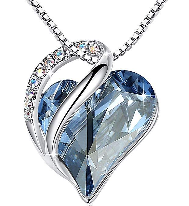 Leafael Presented By Miss New York Infinity Love Made With Swarovski Crystals Light Blue Sapphire Heart Pendant Ne Heart Pendant Necklace Crystal Heart Pendant