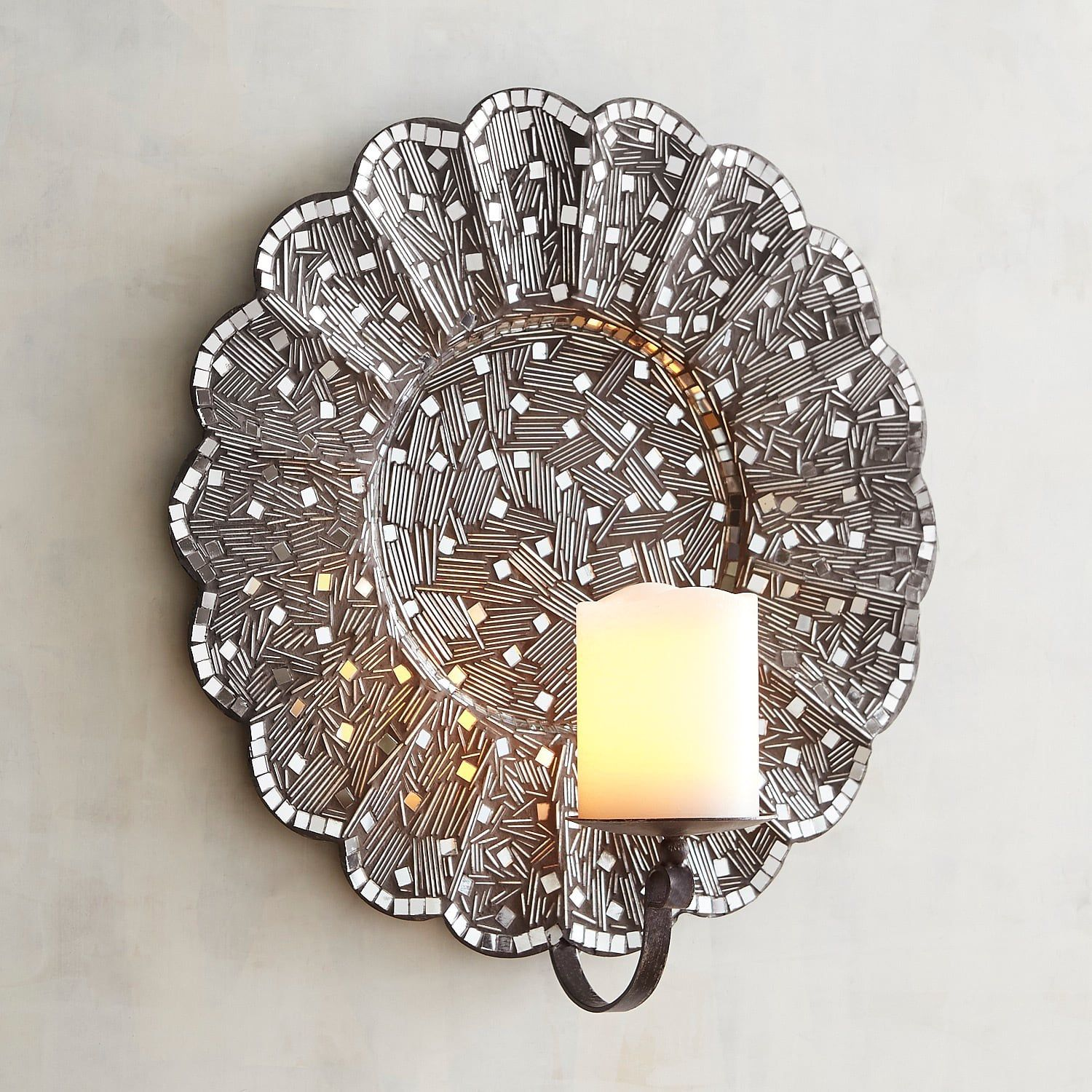 Silver Mosaic Flower Candle Wall Sconce Flower Candle Mosaic