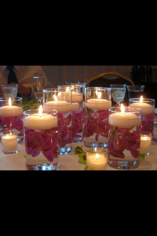 Flowers and floating candle centrepieces
