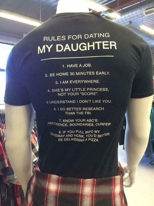 (Sponsored)eBay  Rules For Dating My Daughter Have A Job Be Home 30 Minutes Early Men TShirt is part of Dating my daughter -