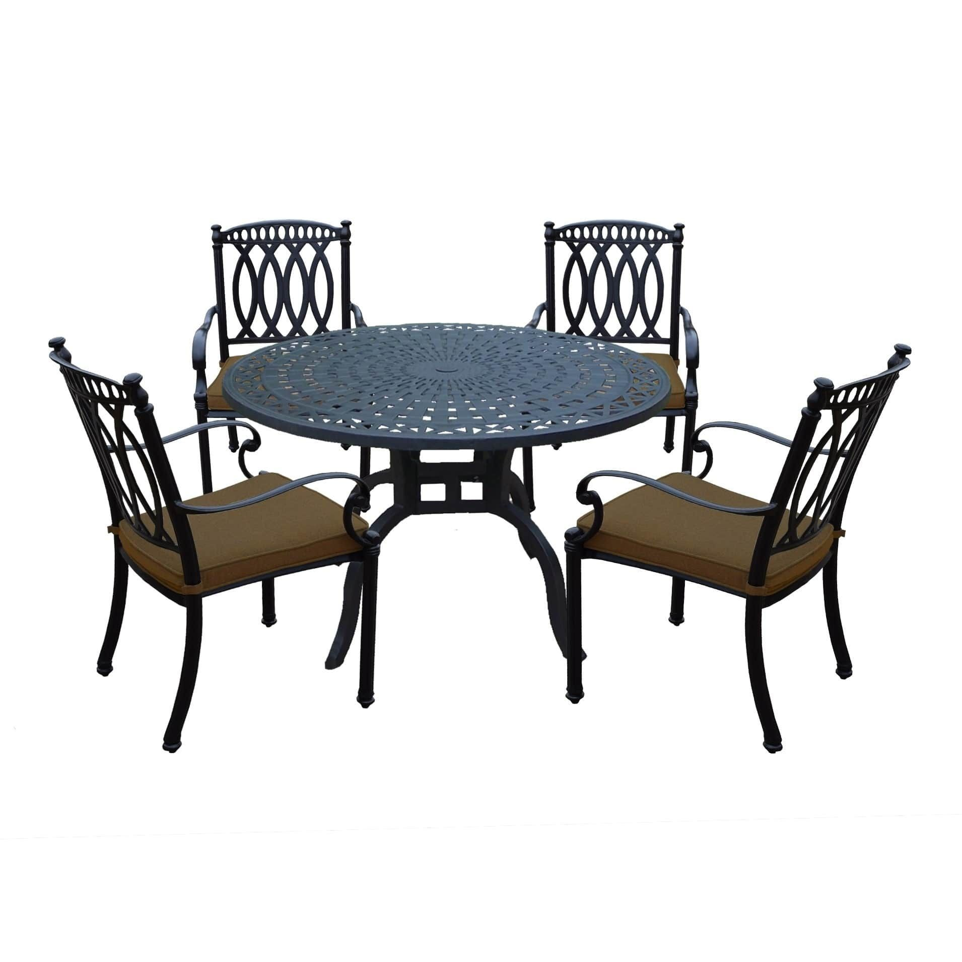 Round dining table and chairs for 4  Aluminum  Piece Dining Set with in Round Dining Table and