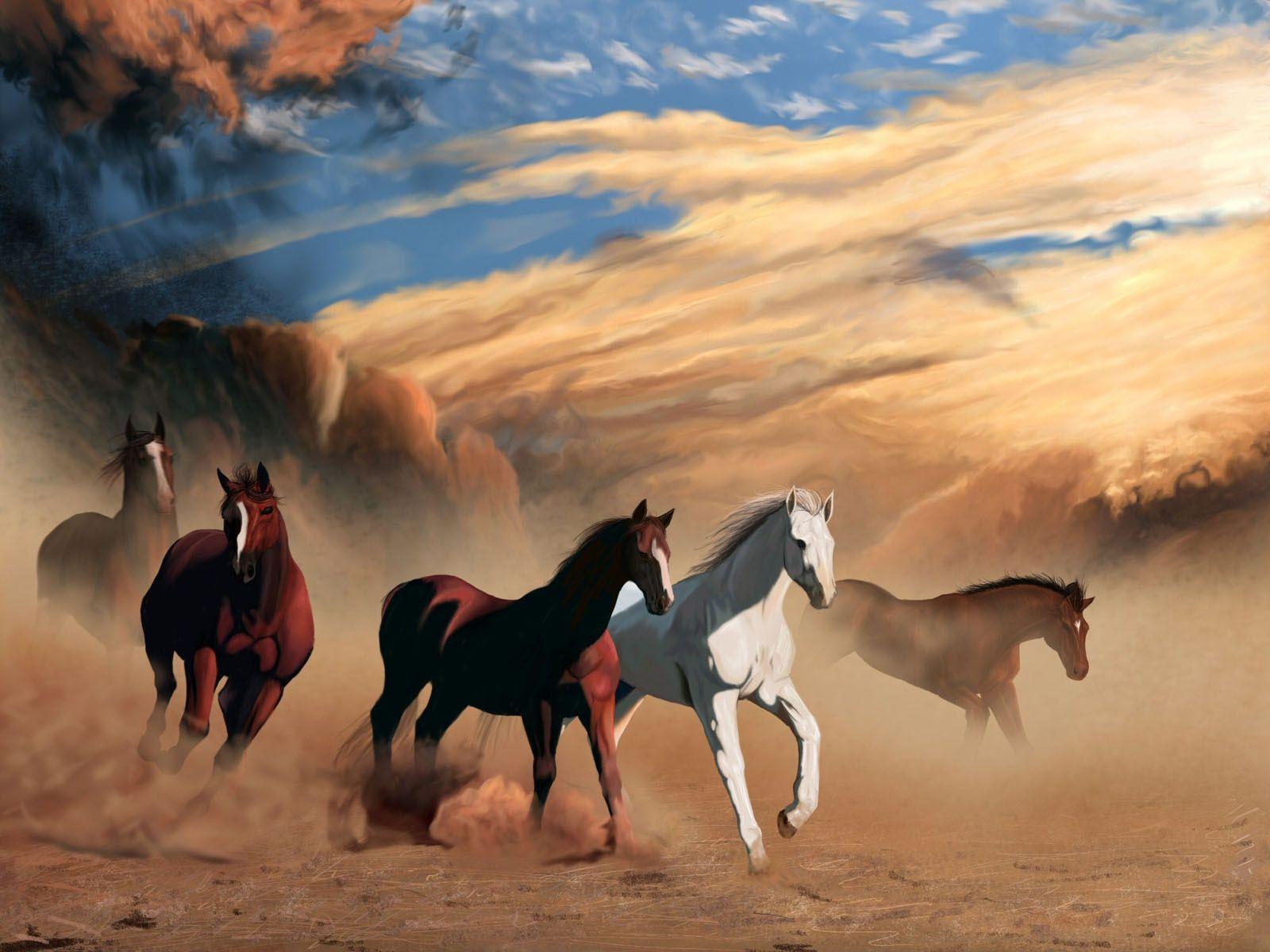 Herd of Horses Running Gallop Winter Animal Nature Art Poster 25/'/' x 16/'/'
