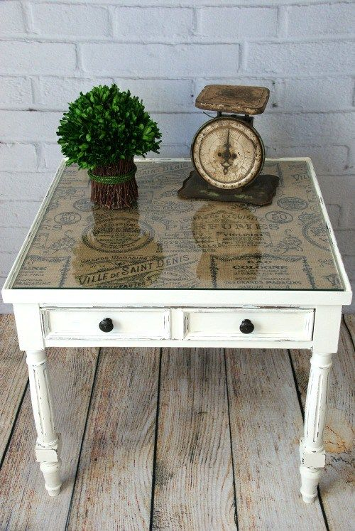 Chalk Painted End Table. Pretty End Table Makeover! Add Patterned Burlap Or  Fabric Under