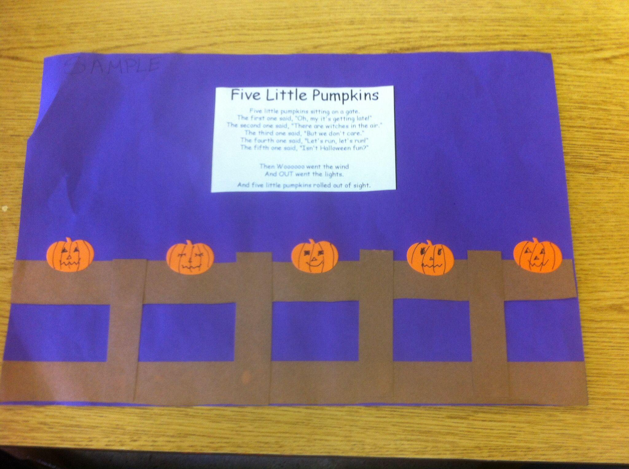 Five Little Pumpkins Easy Preschool Activity Preschool