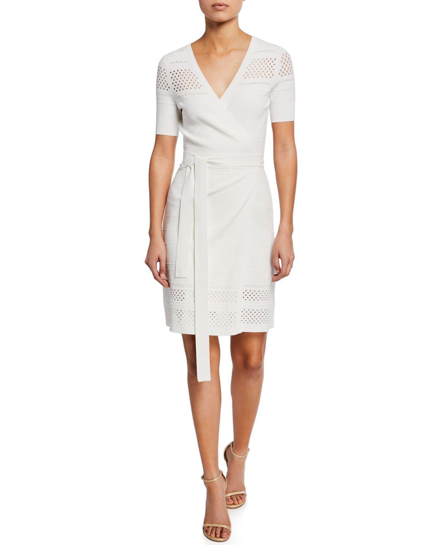 bf1a6a93f Diane von Furstenberg Ivy Knit Short-Sleeve Wrap Dress | Neiman Marcus  Diane von Furstenberg