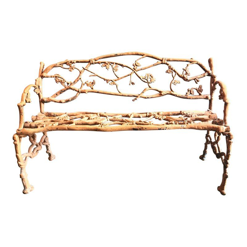 English Faux Bois Cast Iron Garden Bench Coalbrookdale Style, 19th C is part of English garden Bench - This is a charming 19th c  English Cast Iron Faux Bois garden bench in the style of Coalbrookdale  The bench features entwined vines issuing from the faux bois structural elements  The bench is in overall very good condition with great natural patina