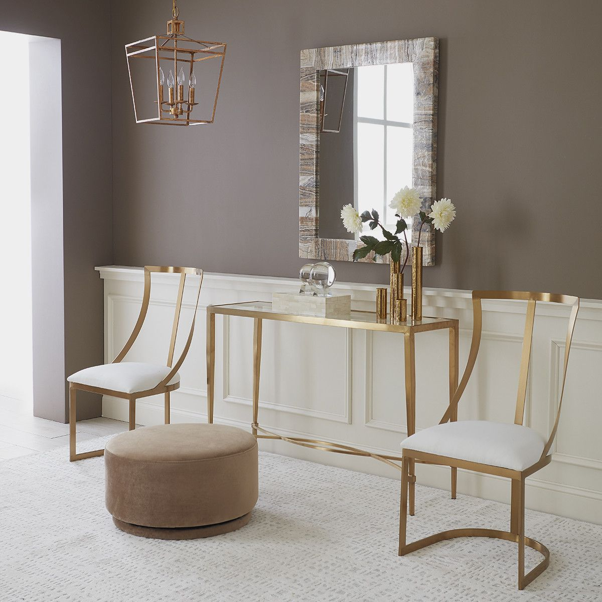 Striated Sardonyx Stone Mirror Wisteria Living Room Decor Apartment Space Saving Dining Room Gold Living Room