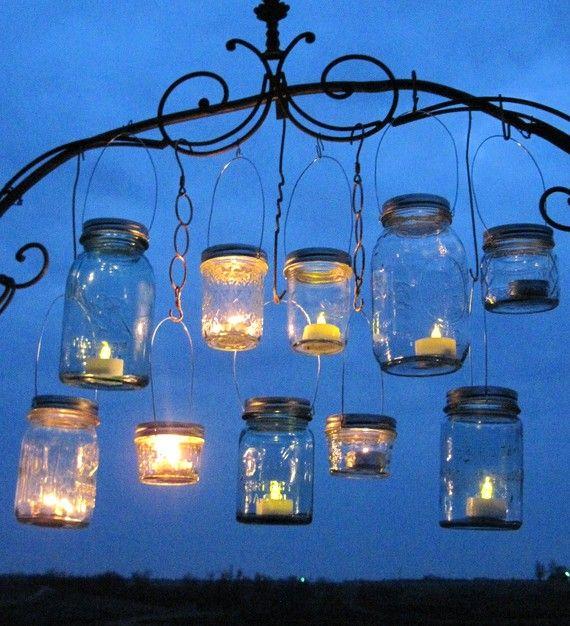 Hanging mason jar lids outdoor wedding candle holders diy for Hanging candles diy
