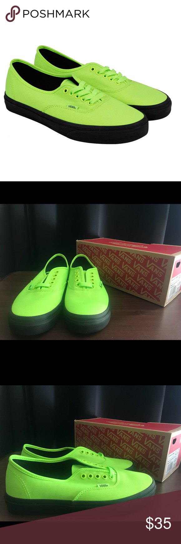 bacfdda11a Vans Authentic Vans Authentic Black Outsole Neon Green Black Women Sz 9.5  Men Sz 7.5 Vans Shoes