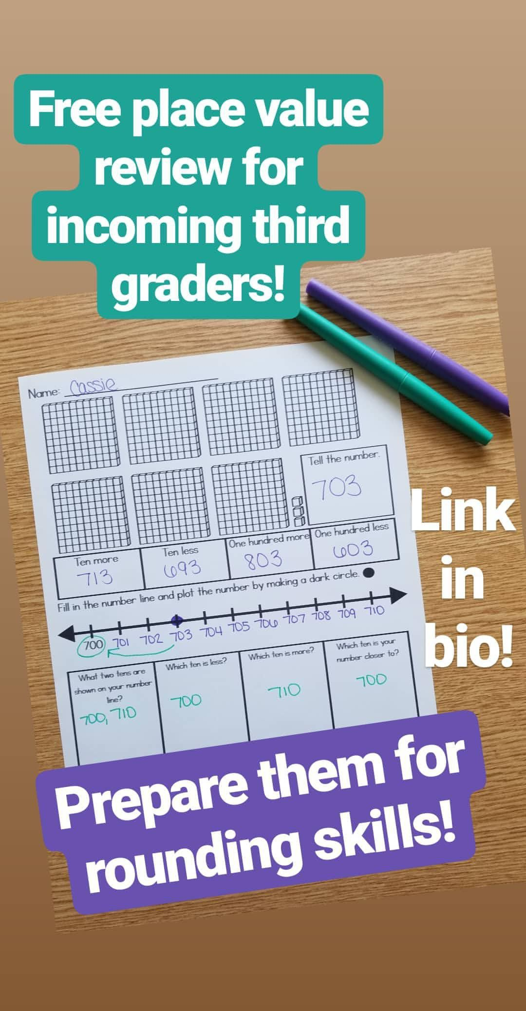Place Value Review For Incoming Third Graders
