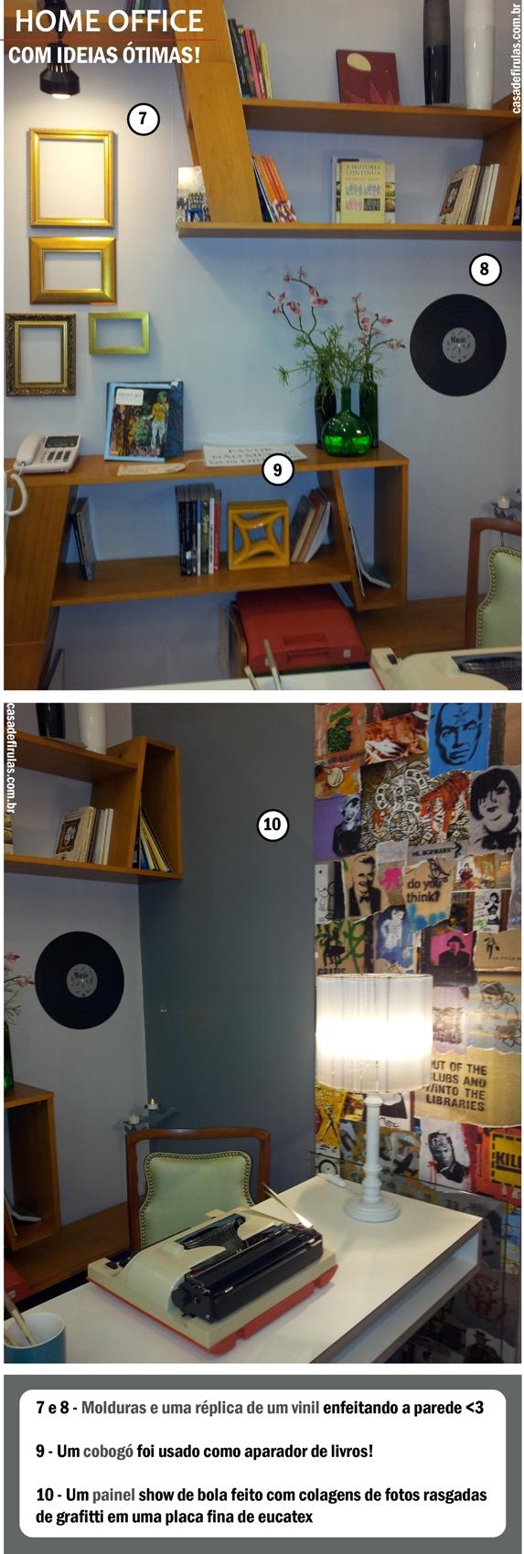 Destaque: aparador de livros cobogó. Vinil na parede. Mural.
