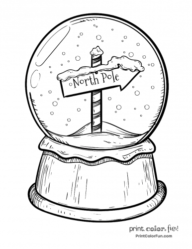 Christmas Snow Globe With North Pole Sign Coloring Page Print Color Fun Christmas Snow Globes Snow Globes Christmas Drawing