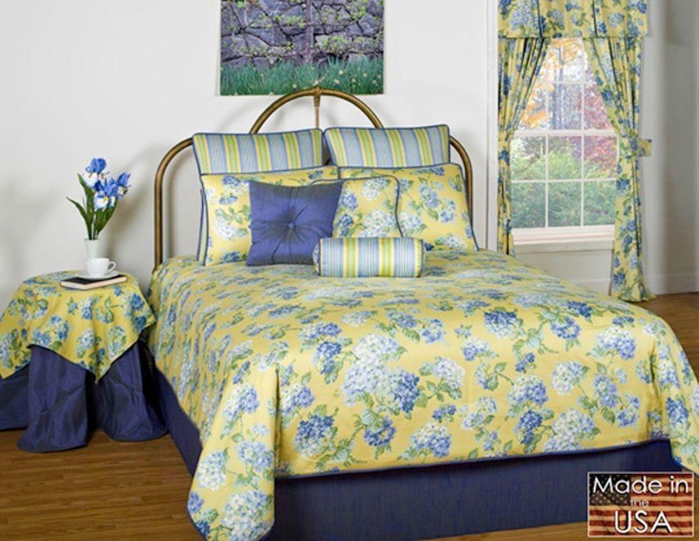 Callaway Yellow & Blue Hydrangea Flower Floral Comforter
