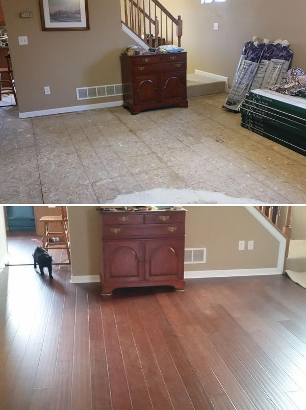 Before After With Antique Hazel We Installed Bamboo Flooring In Our Living Room And Kitchen And We Love It We H Bamboo Flooring Installing Bamboo Flooring