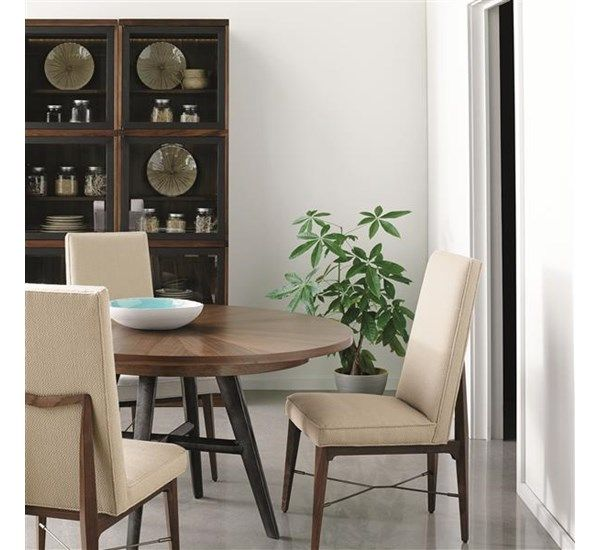 Caracole  Window Of Opportunity A Mix Of Finishes Give This Simple Modern Dining Room Display Cabinets Decorating Design