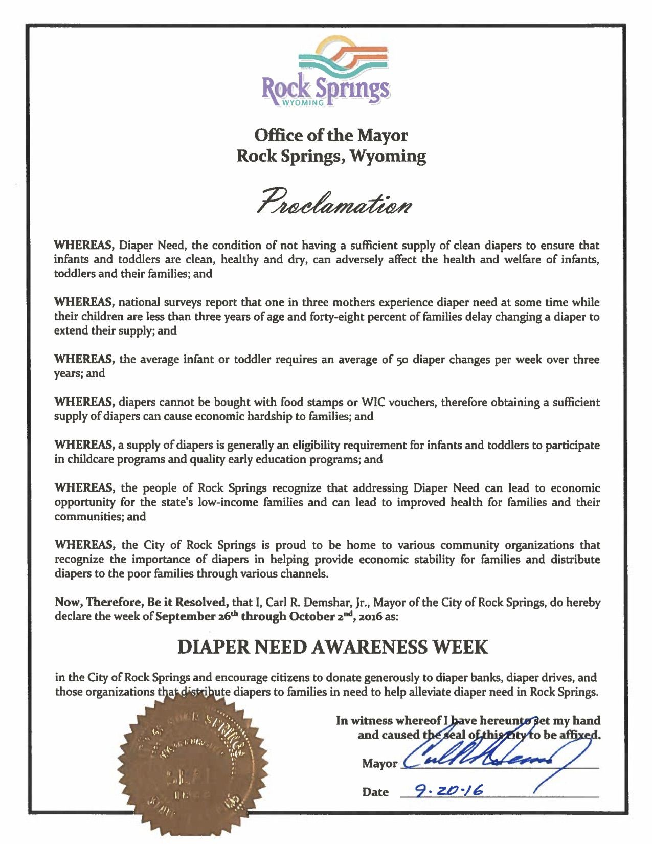 ROCK SPRINGS, WY - Mayoral proclamation recognizing Diaper Need Awareness Week (Sep. 26-Oct. 2, 2016) #DiaperNeed Diaperneed.org