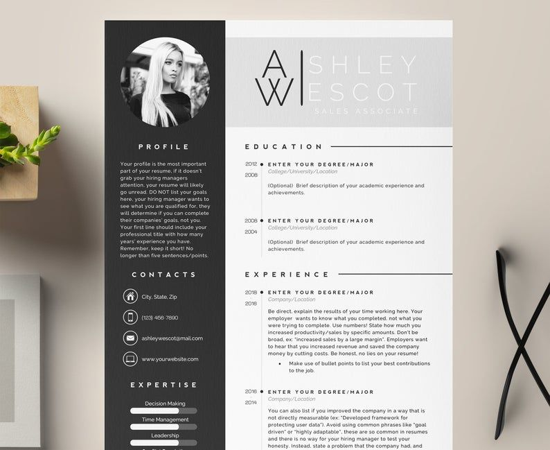 3 Page Resume Template Cover Letter And References Template Etsy In 2020 Resume Template Resume Lettering